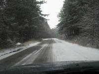 На излизане от Кладница състояноето на пътната настилка след снеговалежа