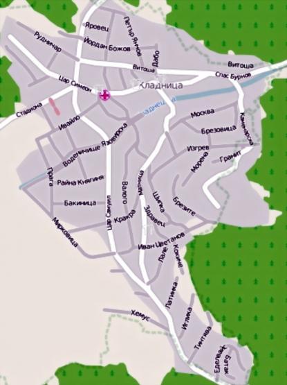 Опростена улична карта на Кладница